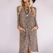 Ladies Fashion Casual Patchwork Leopard Print Dress