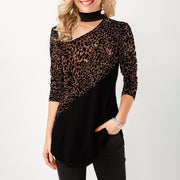 Casual Leopard Print Patchwork T-shirt