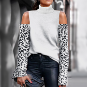 Women's Turtleneck Leopard Stripe Long Sleeve Sweater