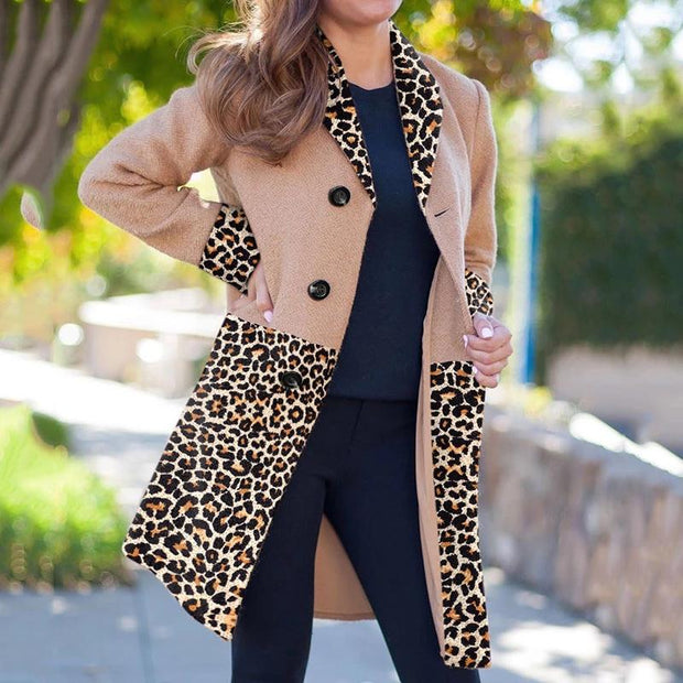 Ladies Classic Fashion Leopard Buttoned Coat