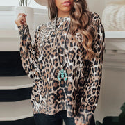 Womens Fashion Casual Leopard Pullover Loose Sweatshirt
