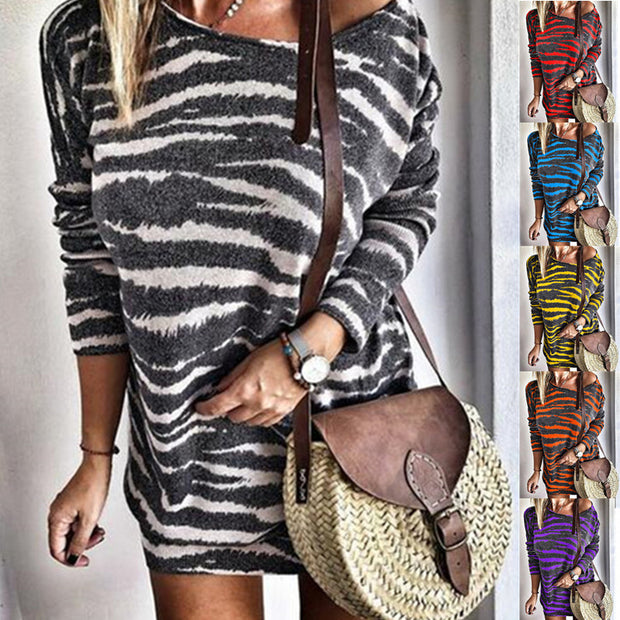 Sexy Round Neck Animal Pattern Printed Dress