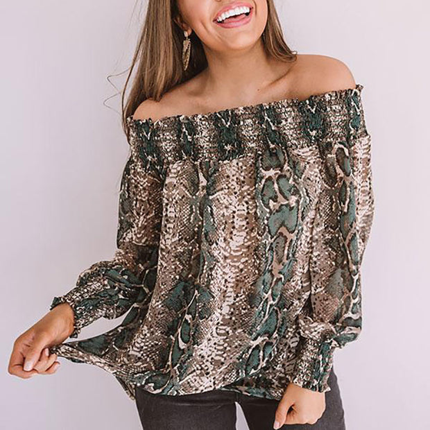 Womens Stylish Casual Neck Snake Print Top