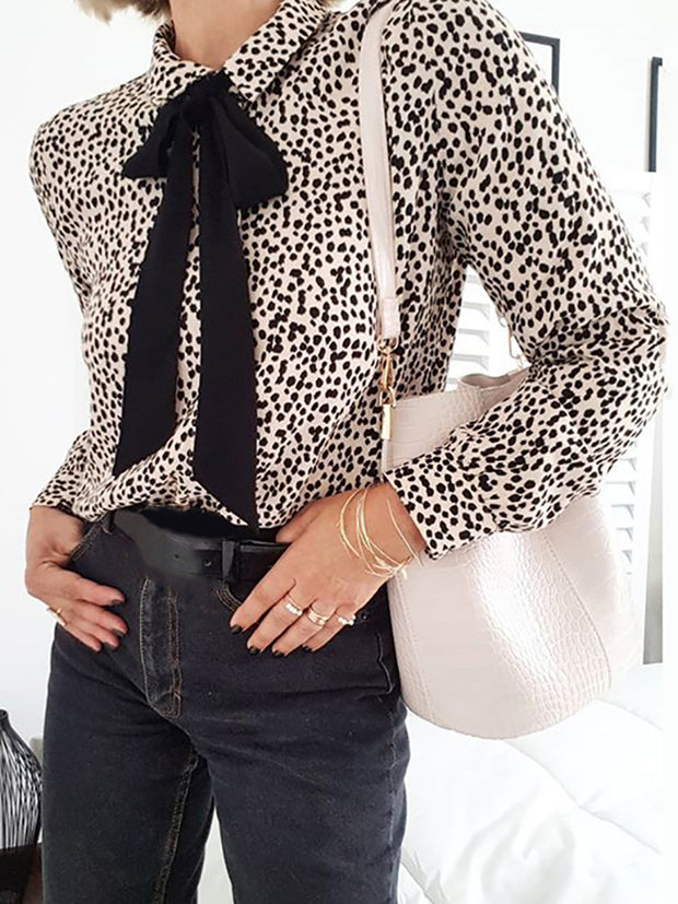 Classic Fashion Leopard Lapel Blouse