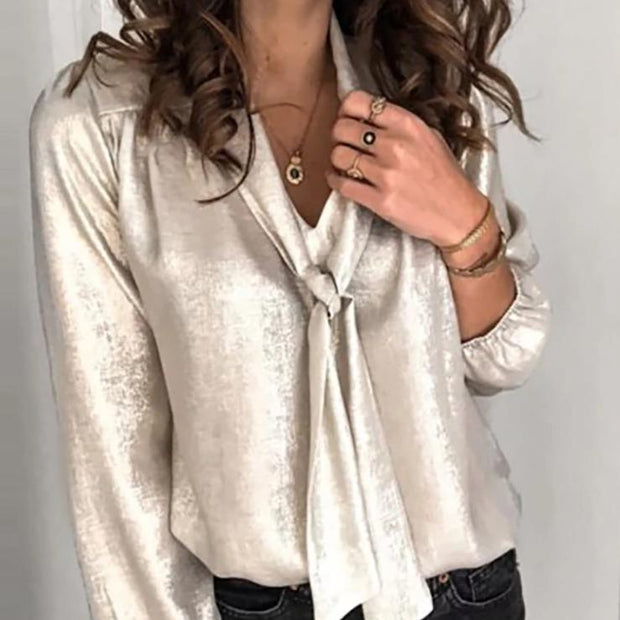 Casual Long Sleeve Pure Color Shirt