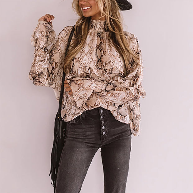 Stylish Casual Turtleneck Snake Print Top Blouse