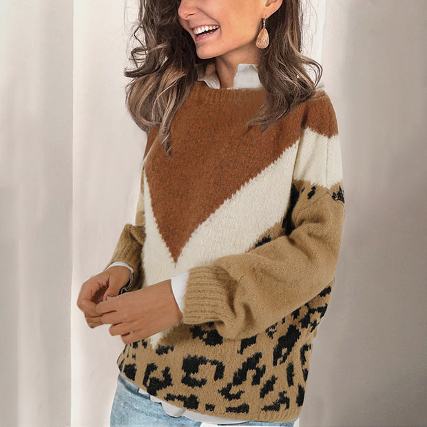 Women's Color Block Leopard Round Neck Pullover Sweater