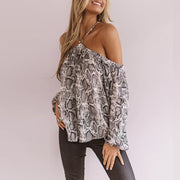 Ladies Fashion Casual Off-Shoulder Snake Print Top
