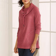 Solid color ladies turtleneck T-shirt