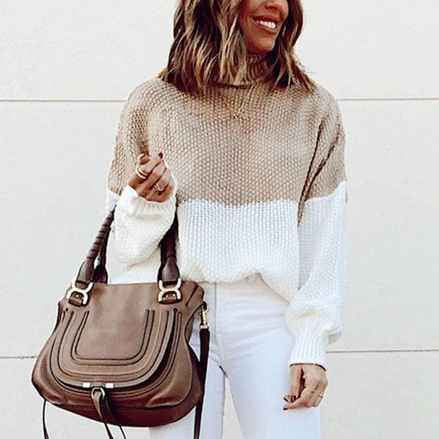 Women's casual color-block turtleneck sweater
