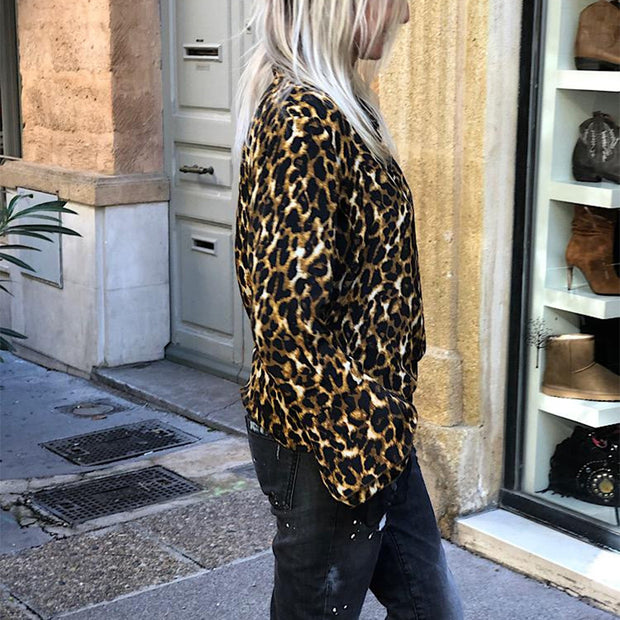 Fashion leopard printed longs leeves blouse
