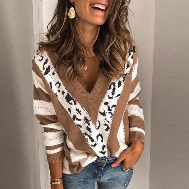 Casual V Neck Printed Color Women's Sweater