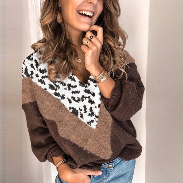 Women's fashion hit color leopard printed long-sleeved sweater