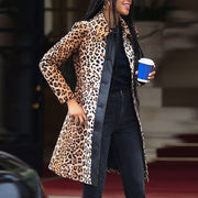 Women Fashion Casual Leopard Buttoned Overcoat