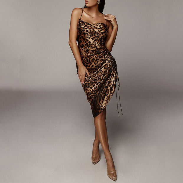 Sexy Leopard Pleated Drawstring Dress