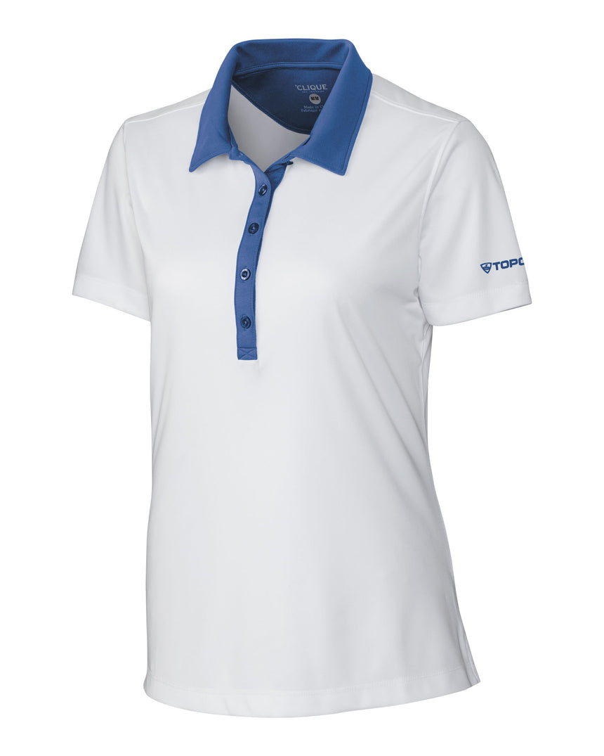 Women's Cutter & Buck Parma Colorblock Polo - White/Blue