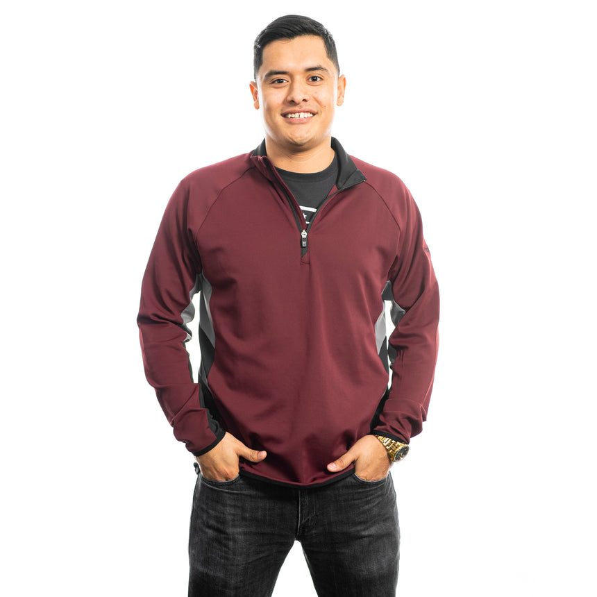 Men's Cutter and Buck Traverse Colorblock Half-Zip, Bordeaux