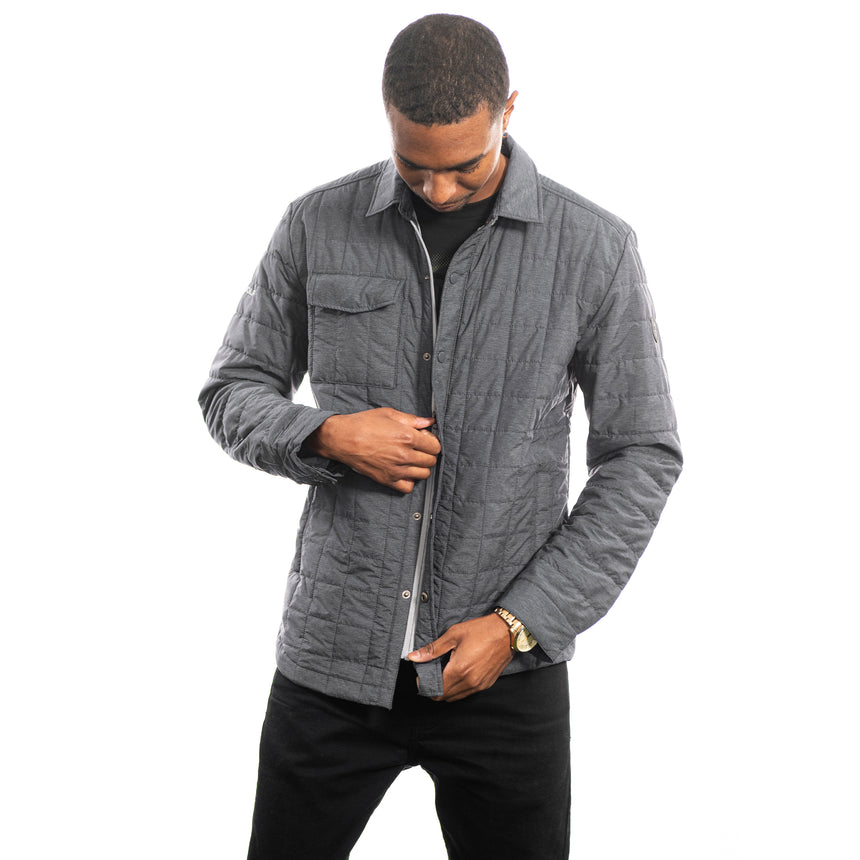 Men's Cutter and Buck Rainier Shirt Jacket, Anthracite Melange