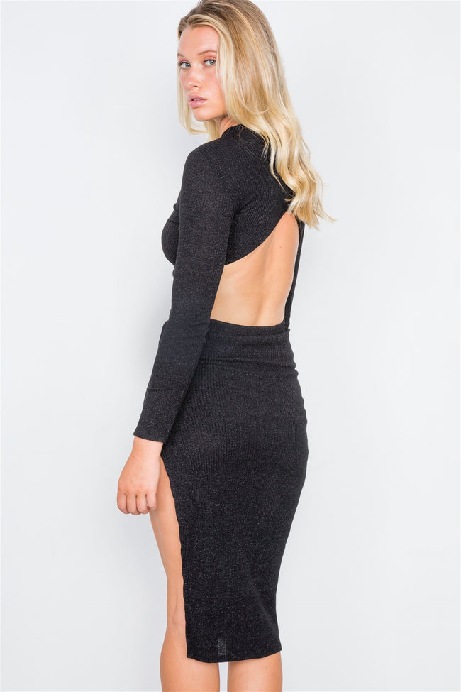 Black Knit Ribbed Two Piece Crop Top Skirt Set