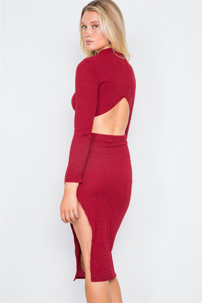 Red Knit Ribbed Two Piece Crop Top Skirt Set
