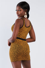 Mustard Black Leopard Print Crop Tank Top & Mini Skirt Set