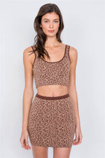 Taupe Brown Leopard Print Crop Tank Top & Mini Skirt Set