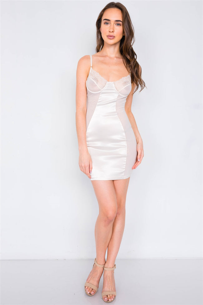 Champagne Satin Mesh Cut-Out Floral Lace Trim Slip Mini Dress