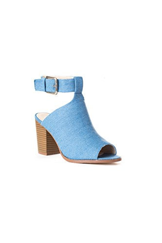 Soho Shoes Women's Open Toe Chunky Heel Ankle Booties
