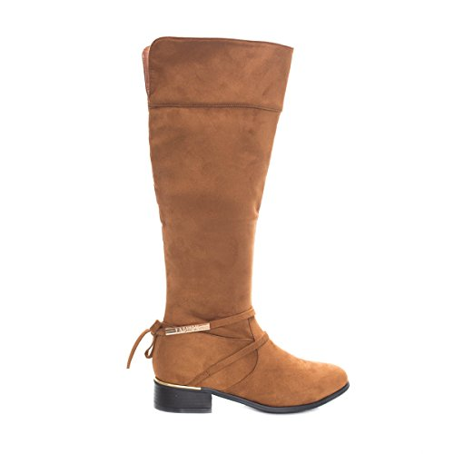 Soho Shoes Women's Tall Faux Suede Knee High Chunky Heel Comfort Boot
