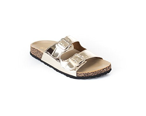 Soho Shoes Women's Double Buckled Cork Footbed Comfort Fashion Slide Sandal