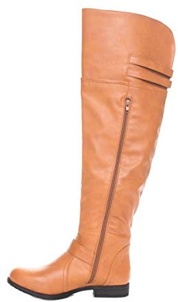 Soho Shoes Women's Leatherette Thigh High Wide Leg Riding Boots