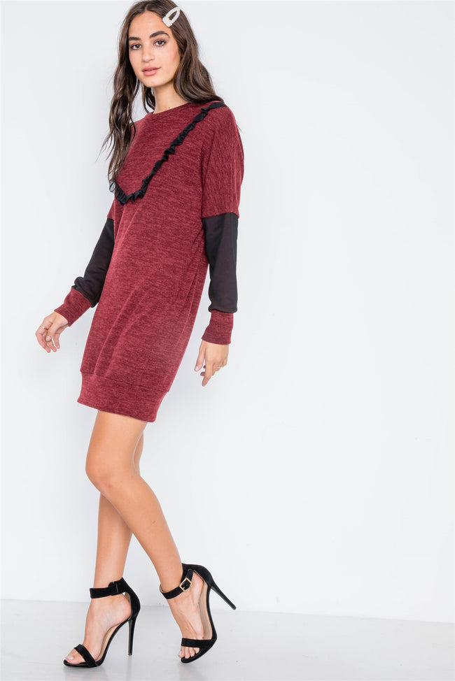 Burgundy Mash Detail Mini Sweater Dress