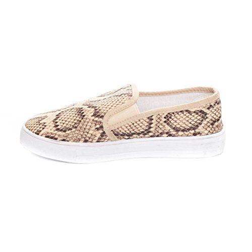 Soho Shoes Women's Slip On Fashion Snake Textile Sneakers