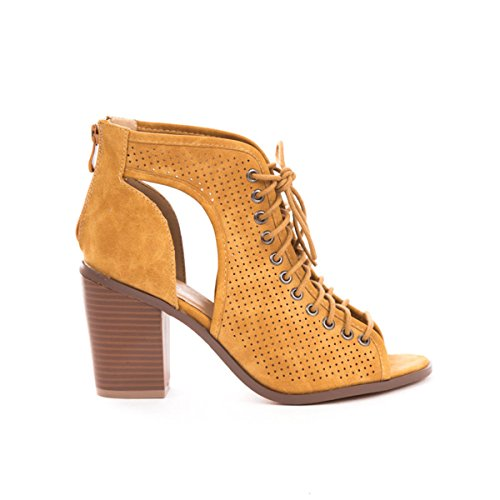 Soho Shoes Women's Lace Up Open Toe Chunky Heel Ankle Booties