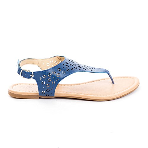Soho Shoes Women's Perforated Flip Flop T-Strap Ankle Strap Sandals