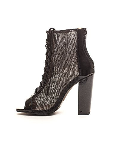 Soho Shoes Women's Lace up Mesh Peep Toe Booties Ankle Boots