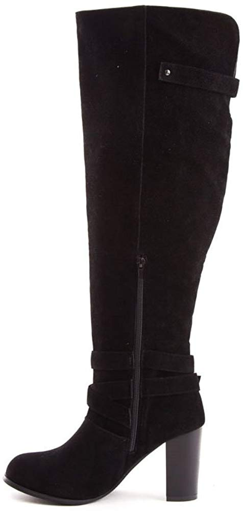 Soho Shoes Women's Suede Heeled Over The Knee Riding Boots