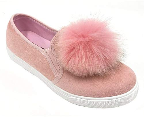 Soho Shoes Women's Slip On Casual Pom Pom Suede Fashion Sneakers