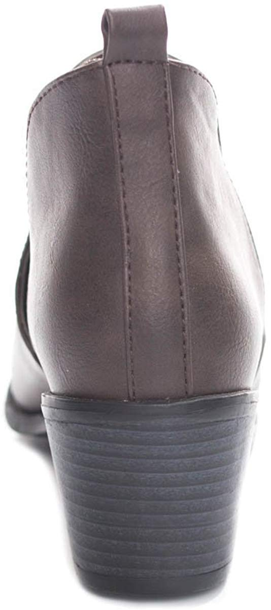 Soho Shoes Women's Side Cut Out Chunky Heel Ankle Bootie Boots