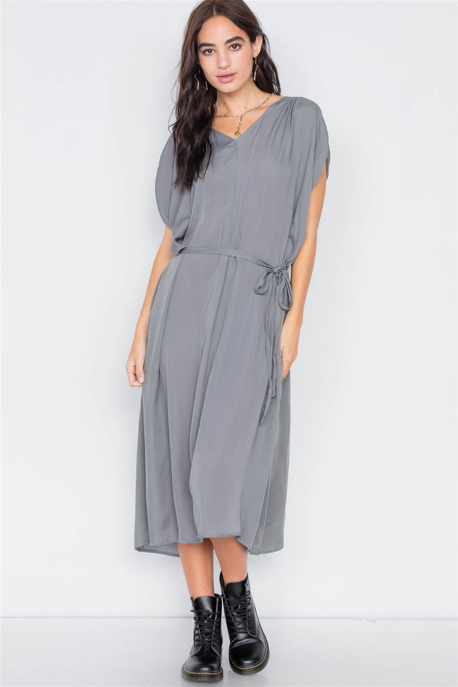 Olive Grey Satin High-Low Midi Dress