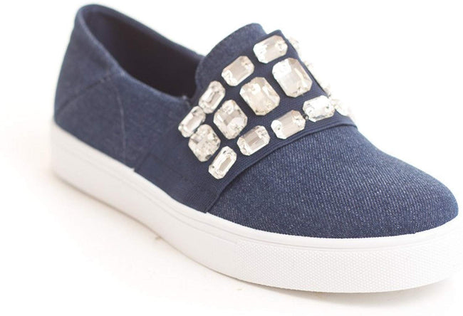 Soho Shoes Women's Casual Slip On Crystal Studded Loafers Comfort Sneaker