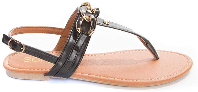 Soho Shoes Women's Ankle Strap Braided Chain Flip Flop Thong Sandal