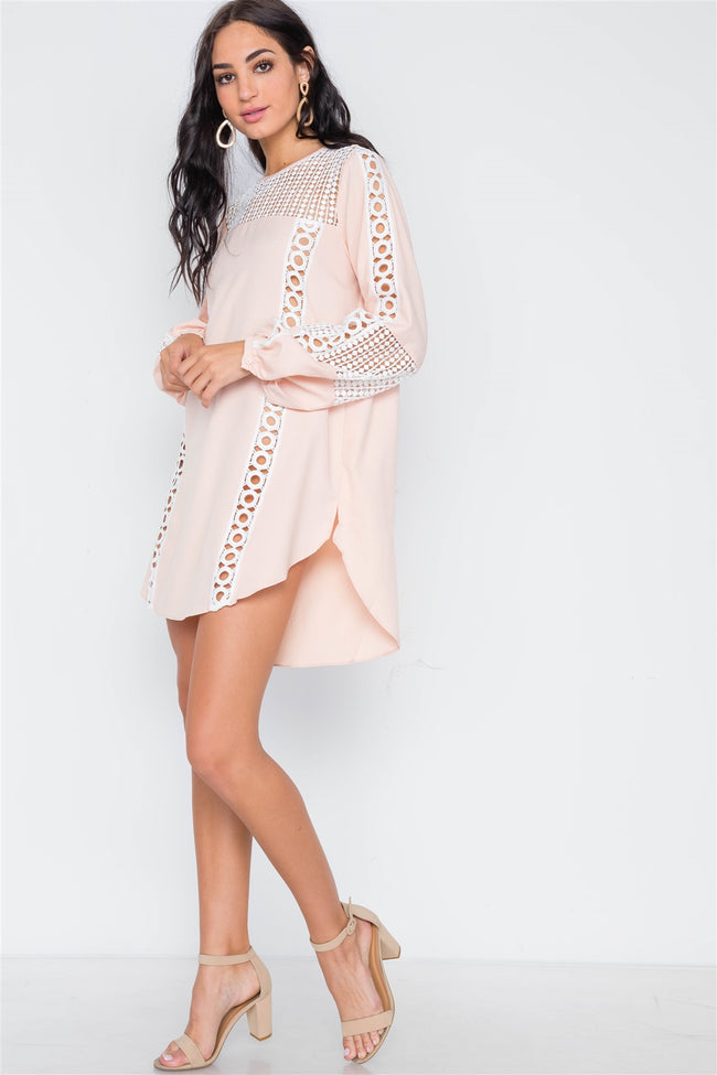 Nude Pink Crochet Trim Long Sleeve Tunic Dress