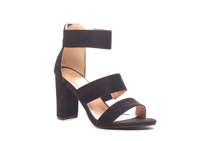 Soho Shoes Women's Ankle Strap Open Toe Sandal Heel