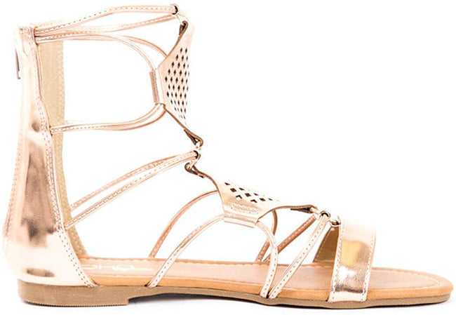 Soho Shoes Women's Laser Cut Roman Gladiator Ankle Sandals