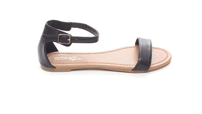 Soho Shoes Women's Summer Ankle Strap Open Toe Flat Slide Sandal