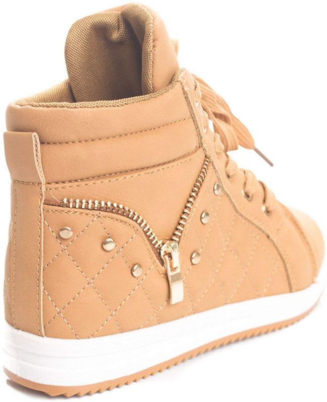 Soho Kids Casual Quilted Lace Up High Top Fashion Sneakers (Toddler/Little Kid)