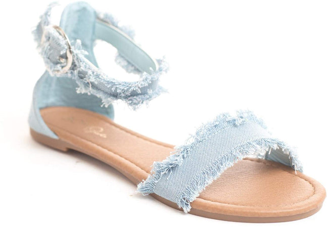 Soho Shoes Girls Kids Denim Flat Strappy Summer Beach Sandal