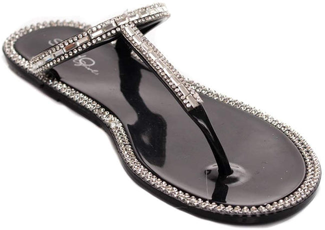 Soho Shoes Women's Jelly Slip On T-Strap Sandals with Gemstones