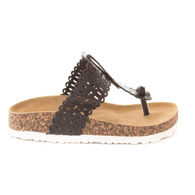 Soho Shoes Women's Cork Platform Slide Thong Flip Flops Sandals